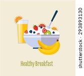 healthy breakfast concepts... | Shutterstock .eps vector #293893130