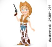 cute girl dressed in a cowboy... | Shutterstock .eps vector #293894099