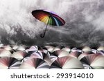 rainbow umbrella fly out the... | Shutterstock . vector #293914010