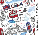Постер, плакат: London landmark symbols lettering seamless