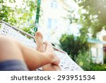 man in a hammock on a summer... | Shutterstock . vector #293951534