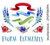 watercolor lavender  ribbons.... | Shutterstock .eps vector #293958494