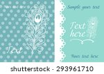 cute card with peacock feather... | Shutterstock .eps vector #293961710