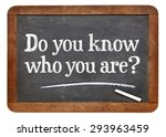 Small photo of Do you know who you are ? A question on a vintage slate blackboard