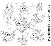 set of cute cartoon sea animals.... | Shutterstock .eps vector #293968778