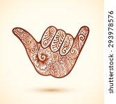 vector shaka surfer's hand in... | Shutterstock .eps vector #293978576