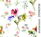 seamless wallpaper with wild... | Shutterstock . vector #293982938