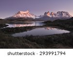 sunrise over horns of paine and ... | Shutterstock . vector #293991794