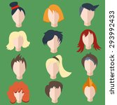 set isolated of stylish  faces  ... | Shutterstock . vector #293992433