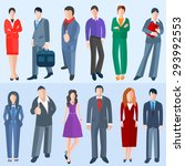 set men and women of business... | Shutterstock . vector #293992553
