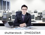 young entrepreneur smiling on... | Shutterstock . vector #294026564