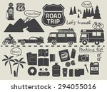 road trip design elements,travel icon set - stock vector