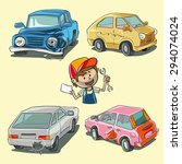 four types of car damage and... | Shutterstock .eps vector #294074024