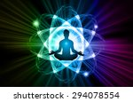 man meditate dark blue green... | Shutterstock .eps vector #294078554