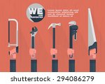 home tools with hand flat... | Shutterstock .eps vector #294086279