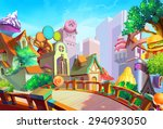 illustration  a beautiful town... | Shutterstock . vector #294093050