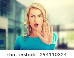 woman expressing stop sign with ... | Shutterstock . vector #294110324