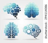 Stock vector creative blue brain polygon vector 294114086