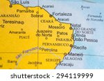 map view of brazil on a... | Shutterstock . vector #294119999
