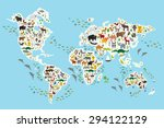 cartoon animal world map for... | Shutterstock .eps vector #294122129