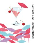 cherry cocktail. summer sun... | Shutterstock .eps vector #294126224