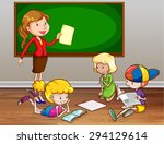female teacher teaching in the... | Shutterstock .eps vector #294129614