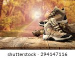 camping and shoes of brown... | Shutterstock . vector #294147116