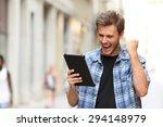 euphoric winner man screaming... | Shutterstock . vector #294148979
