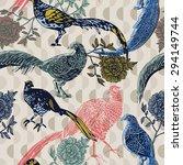 vintage background with birds...   Shutterstock .eps vector #294149744