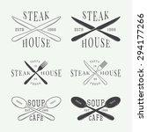 set of vintage restaurant logo  ... | Shutterstock .eps vector #294177266