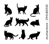 Cats Silhouettes. Animal And...