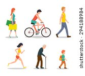 people on street in flat style... | Shutterstock .eps vector #294188984