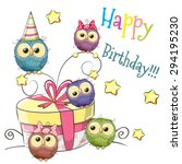 greeting card cute five owls...   Shutterstock .eps vector #294195230