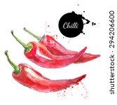 Chili. Hand Drawn Watercolor...