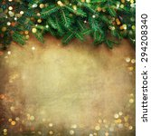 christmas fir tree border over... | Shutterstock . vector #294208340