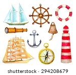 set of nautical symbols.... | Shutterstock .eps vector #294208679