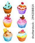 set of cupcakes made in... | Shutterstock .eps vector #294208814
