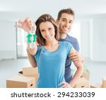 young smiling couple holding... | Shutterstock . vector #294233039