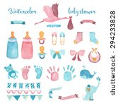 Watercolor Baby Shower Vector...