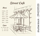 hand drawn street cafe... | Shutterstock . vector #294235520
