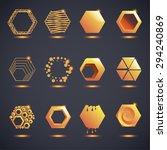 set of honeycomb logos.... | Shutterstock .eps vector #294240869
