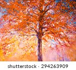 Oil Painting On Canvas Red Tree ...