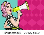Stock photo pop art girl with megaphone woman with loudspeaker lady announcing discount or sale shopping 294275510