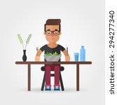 vector cartoon hipster eating... | Shutterstock .eps vector #294277340