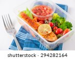 grilled salmon with tomato... | Shutterstock . vector #294282164
