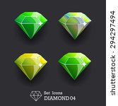 collection icons diamond green...