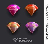 collection icons diamond pink...