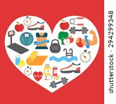 fitness icons in heart shape... | Shutterstock .eps vector #294299348
