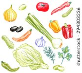 vector set of food drawing by...   Shutterstock .eps vector #294303236