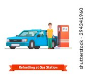 man refuelling his car holding... | Shutterstock .eps vector #294341960